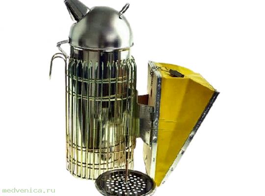 Дымарь пасечный (нержавейка) с защитой от ожога, h240мм, мех кожа