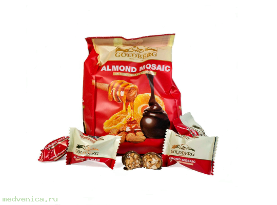 Конфеты Goldberg Almond mosaic, флоупак 200г