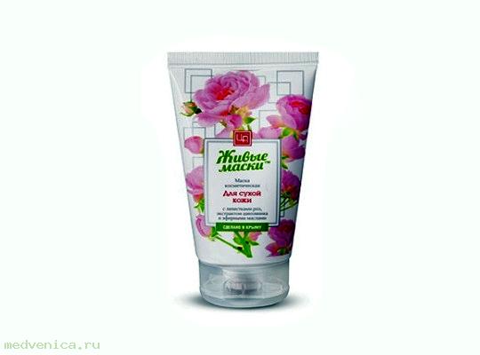 Живые маски для сухой кожи с лепестками роз, 140 г.